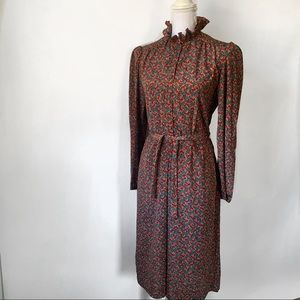 Vintage Leslie Fay 1970s High Neck Dress